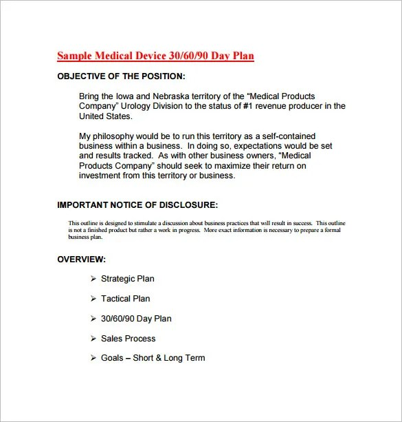 12 30 60 90 Day Action Plan Templates DOC PDF Free