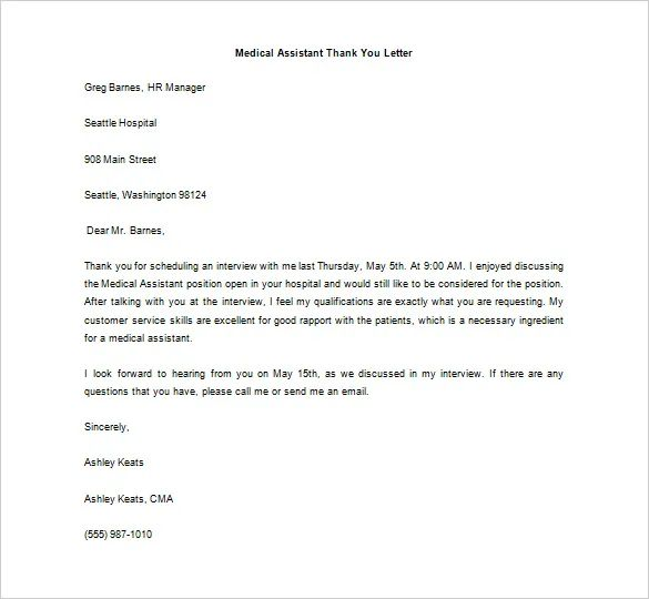 medical assistant interview thank you letter