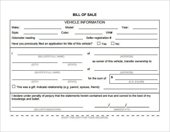 motor vehicle bill of sale template word