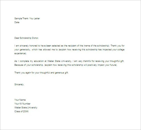 thank you letter to