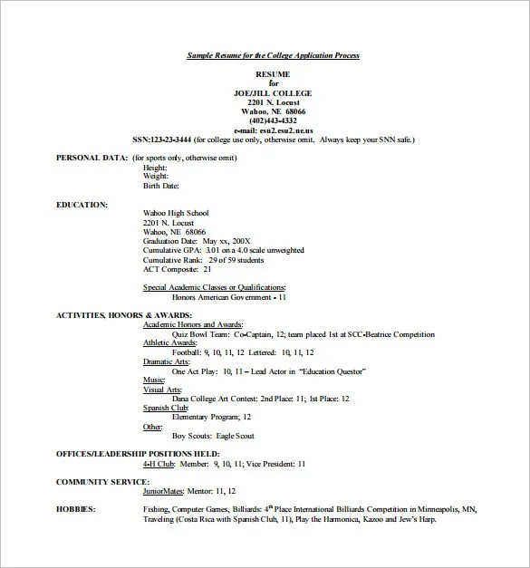 Resume For College Application Template Resume For College