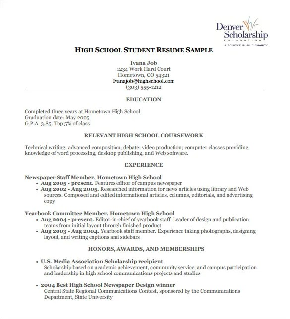 High School Resume Template – 9 Free Word Excel PDF Format