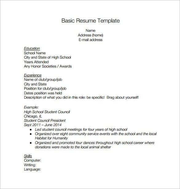 ... Resume Templates High School High School Resume Template Resume   High  Schooler Resume ...  High Schooler Resume