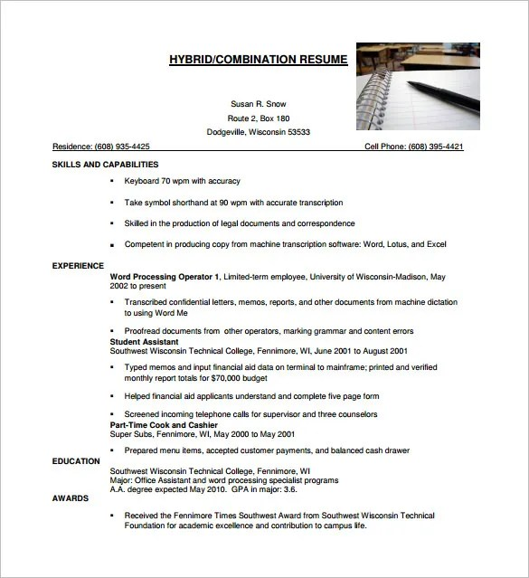 Combination Resume Template – 10 Free Word Excel PDF Format