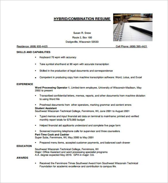 combination resume format sample