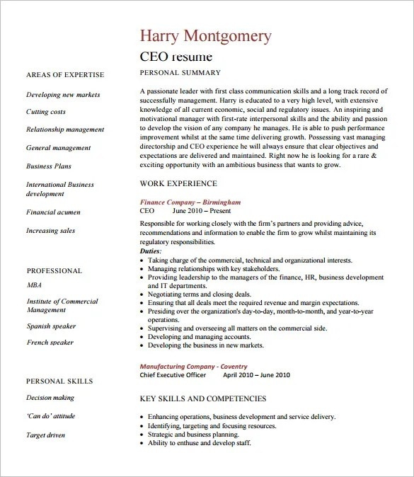 Chief Executive Officer Resume Template – 8 Free Word Excel PDF