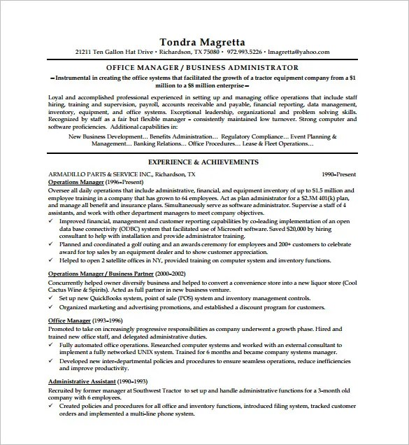 Executive Resume Template -12+ Free Word, Excel, PDF Format Download ...