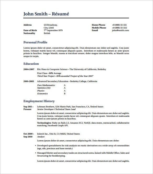 Latex Resume Template  7 Free Word Excel PDF Free