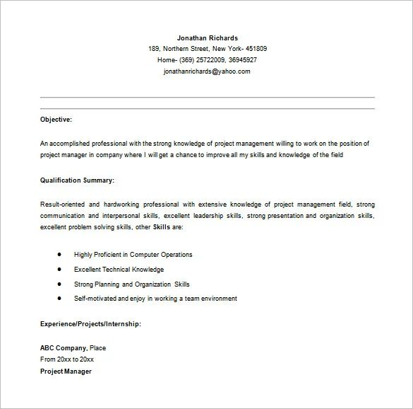 entry level it project manager resume sample