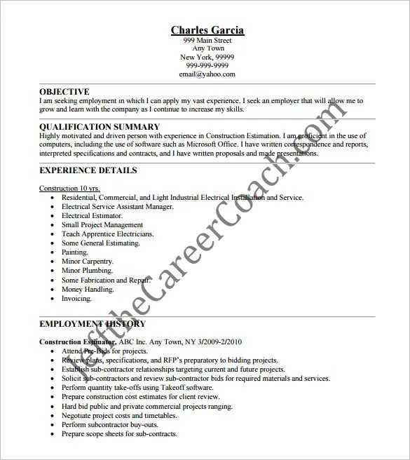 Estimator sample resumes
