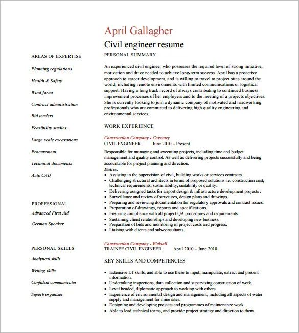 civil engineer resume sample free download