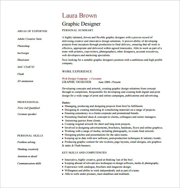 Designer Resume Template  8 Free Word Excel PDF Format