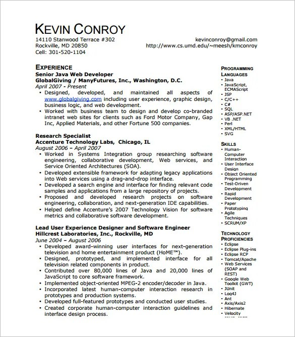 Web Developer Resume Template – 11 Free Word Excel PS PDF
