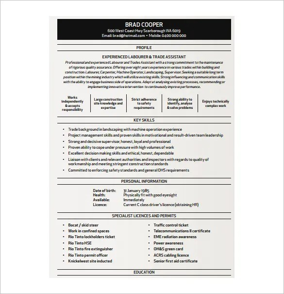 Carpenter Resume Template – 8 Free Word Excel PDF Format