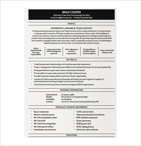 Carpentry skills resume resume sample carpenter resume template 8 free word excel pdf format yelopaper Choice Image