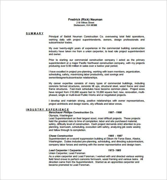 Carpenter Resume Template  8 Free Word Excel PDF Format Download  Free  Premium Templates
