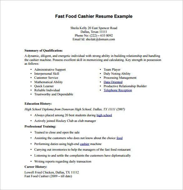 resume qualifications cashier