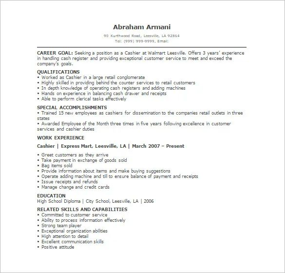 resume qualifications for cashier