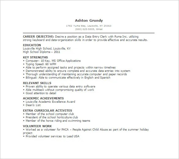 Data Entry Resume Template – 9 Free Word Excel PDF Format