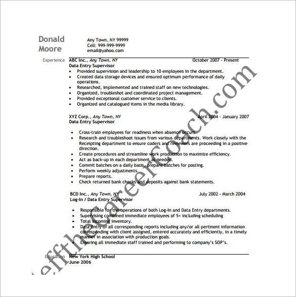Data Entry Resume Template  8 Free Word Excel PDF Format Download  Free  Premium Templates