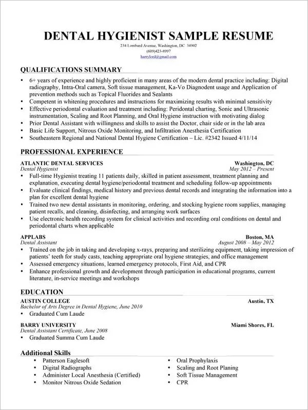 Dental Assistant Resume Template – 7 Free Word Excel PDF Format