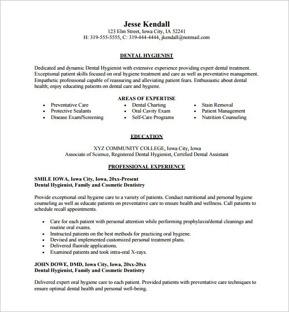 Dental Assistant Resume Template 5 Free Word Excel