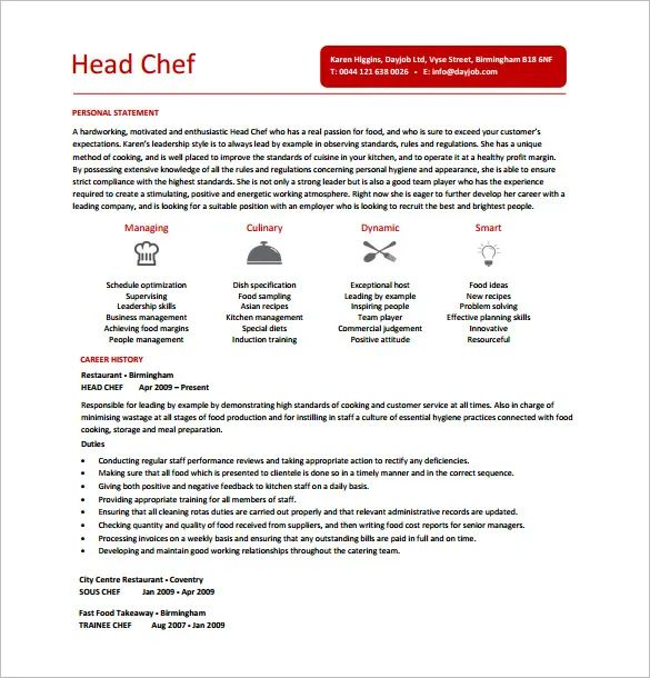 free chef resume templates