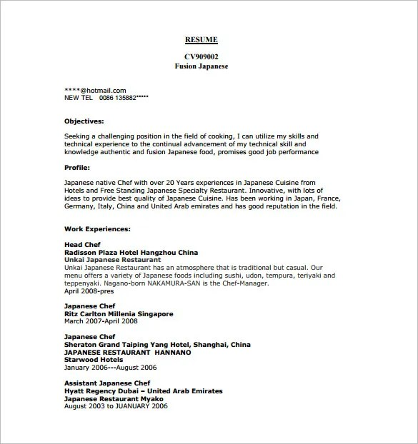 Sushi Chef Resume Example - Examples of Resumes