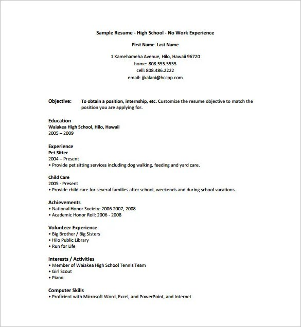 Internship Resume Template – 11+ Free Word, Excel, PDF , PSD Format ...