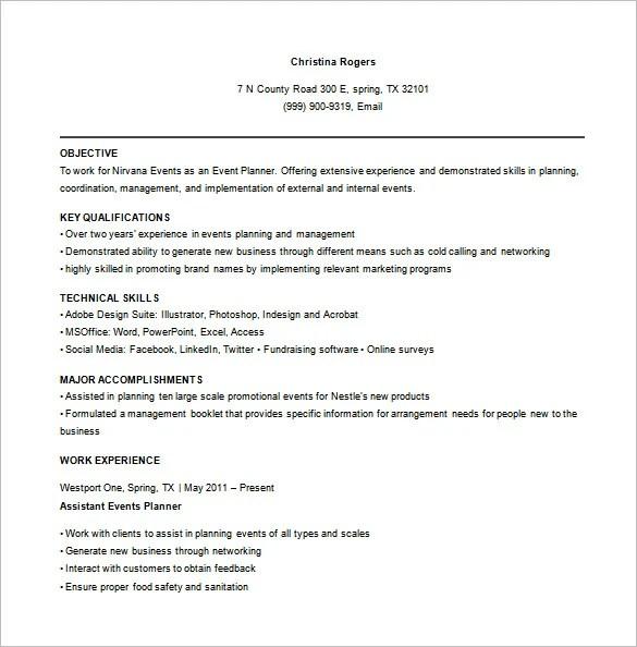 8 Event Planner Resume Templates DOC Excel PDF Free