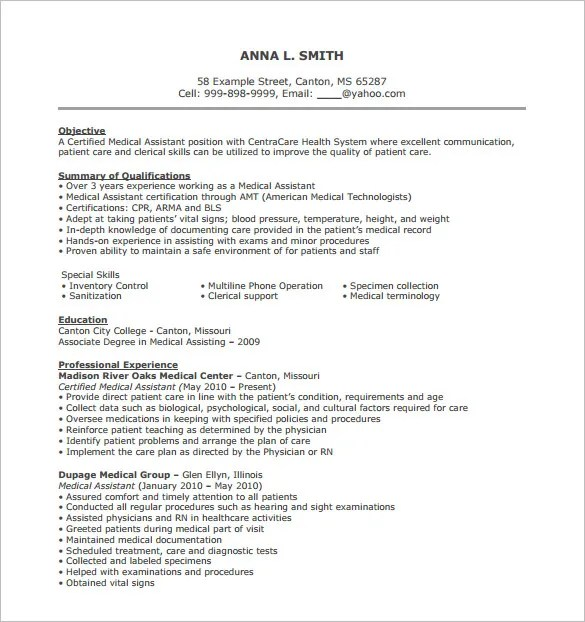 Medical Assistant Resume Template – 8 Free Word Excel PDF