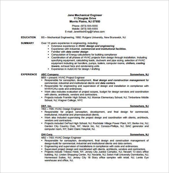 hvac project manager resumes