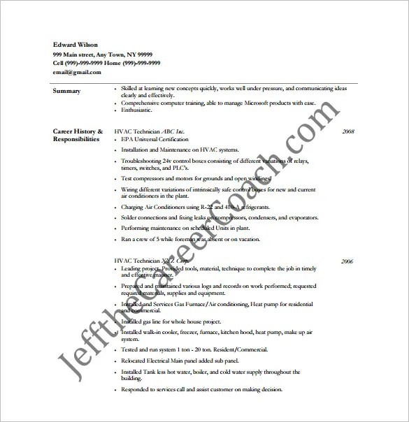 HVAC Resume Template – 10 Free Word Excel PDF Format
