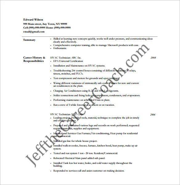 hvac engineer resume template
