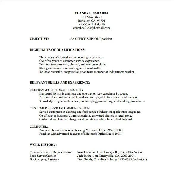 Bank Customer Service Representative Resume