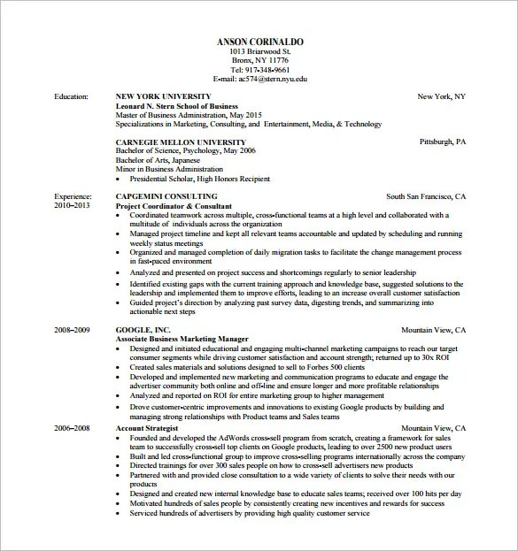 Marketing Analyst Resume Template  10+ Free Word, Excel