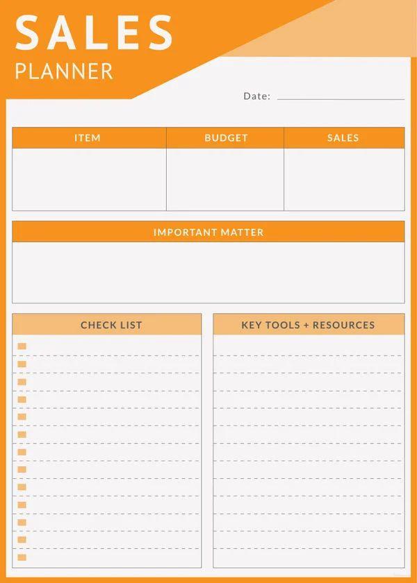sales planner template
