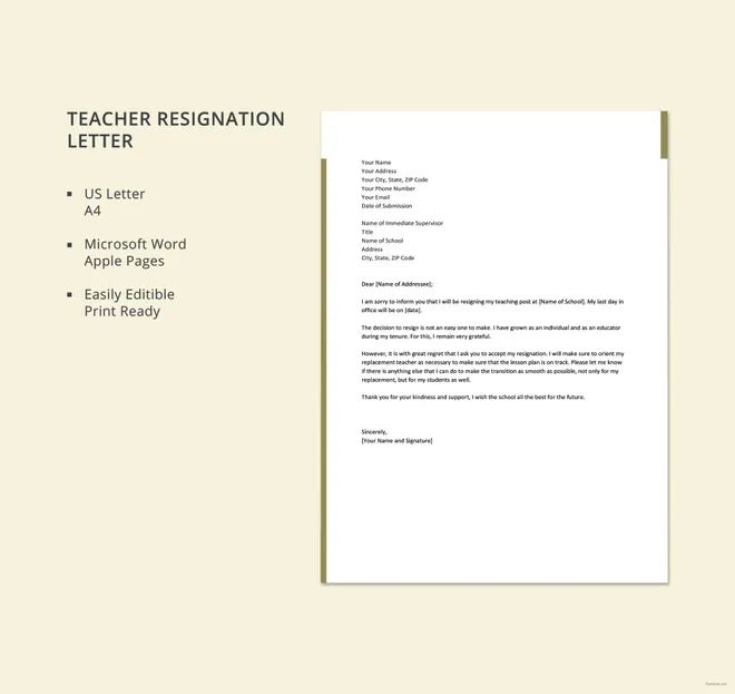 resignation letter for teacher sample
