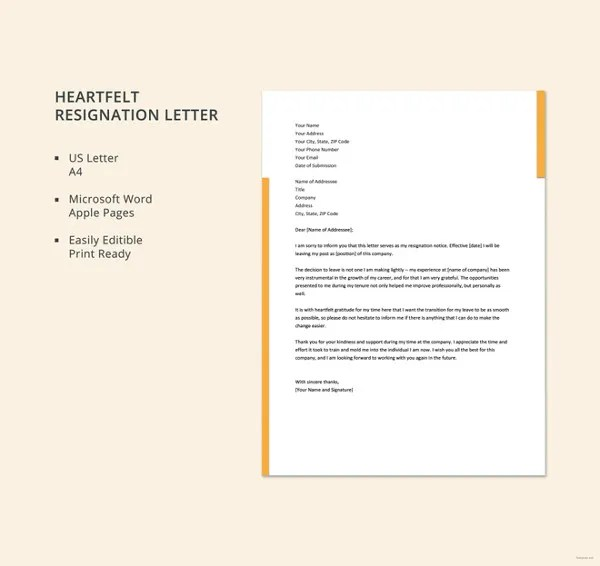 Resignation Letter Template 17 Free Word PDF Format