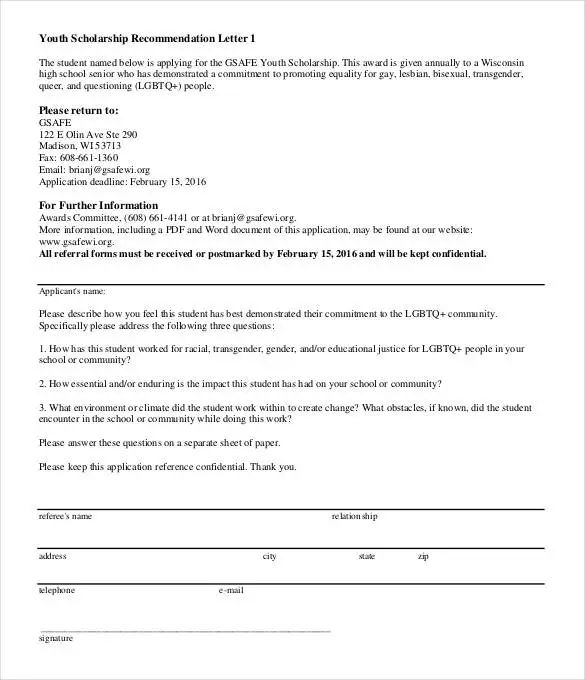 recommendation letter for scholarship pdf