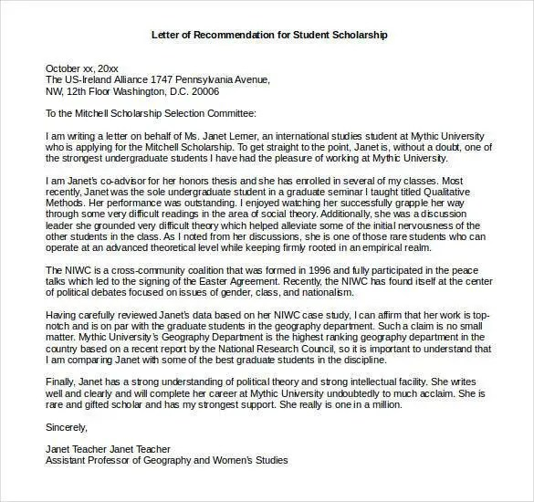 Scholarship Recommendation Letter Samples