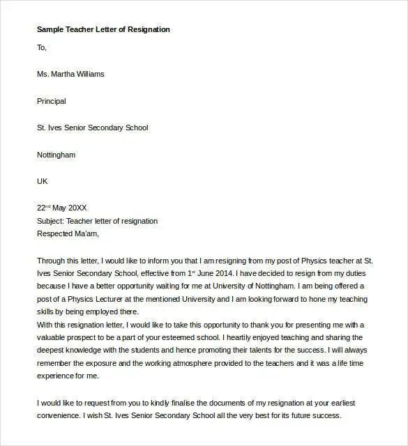 resignation letter to parents of students