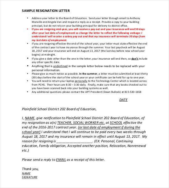 14 Teacher Resignation Letter Templates PDF DOC Free