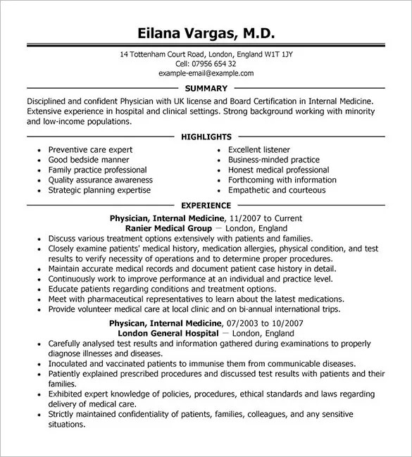 Doctor Resume Template – 16 Free Word Excel PDF Format Download