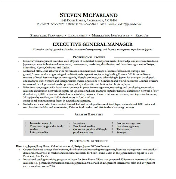 Manager Resume Template – 13 Free Word Excel PDF Format