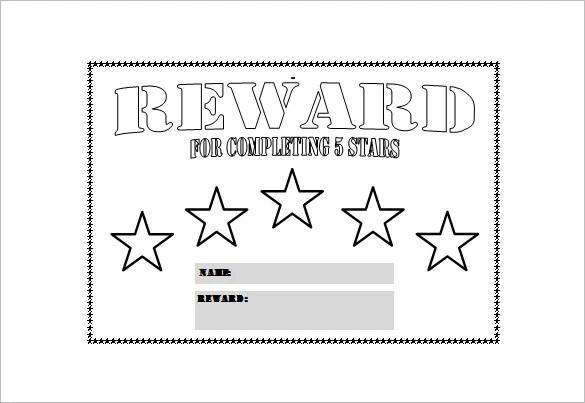 Reward chart template free