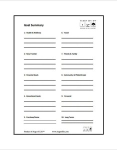 Stage of life goal setting chart free pdf downlaod also templates doc excel  premium rh template