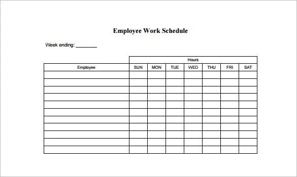 Blank Work Schedule Template Customer Service Resume Example