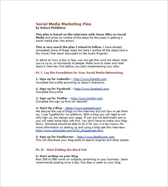 13+ Social Media Marketing Plan Templates - Docs. PDF. Word   Free & Premium Templates