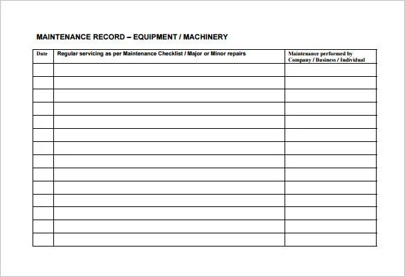 equipment maintenance checklist excel